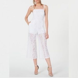 FRENCH CONNECTION WHITE HELENIE LACE JUMPSUIT
